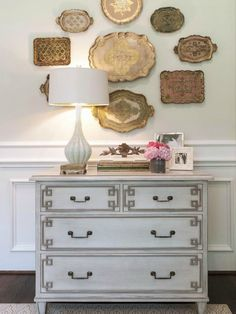 Southern, love the silver platter display and chest  Could also possibly put in foyer next to stairs The Zhush: Just Peachy