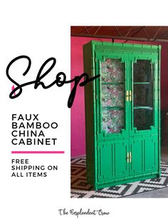 Listing here a gorgeous faux bamboo China Cabinet. Don't just think dining room.think entry way, living room or literally anywhere where you need a statement piece. Vintage Furniture, Painted Furniture, Refinished Furniture, High Gloss Paint, Faux Bamboo, Floor Design, Chinoiserie, Furniture Making, House Colors