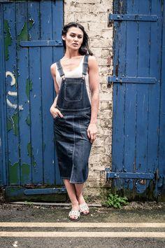 e078cfec7f326 #Uskees Darkwash Denim Midi Bib Overall Skirt with front split. #denim