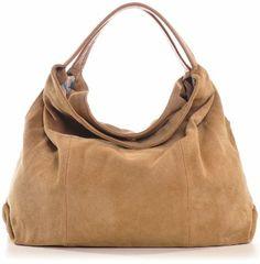 CNTMP, Damen Handtaschen, Hobo-Bags, Schultertaschen, Beutel, Beuteltaschen, Trend-Bags, Velours, Wildleder, Leder Tasche, DIN-A4, 41x33x10c...
