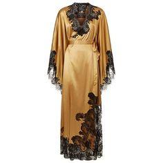 Agent Provocateur Nayeli Long Kimono ($1,585) ❤ liked on Polyvore featuring intimates, robes, lace robe, suspender belt, lace garter belt, lace kimono robe and kimono robe