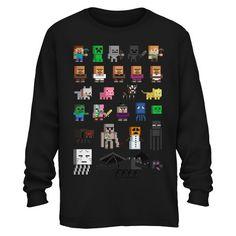 Boys' Minecraft Sprites Long Sleeve Graphic T-Shirt Black : Target