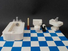 LEGO Furniture: Bathroom Set w/ Toilet, Sink, Bathtub & More city,town,lot