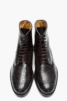 CARVEN Black Perforated Leather Boots