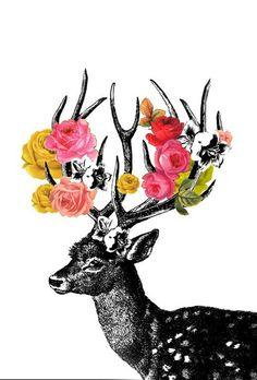 #Deer #Flower #Art
