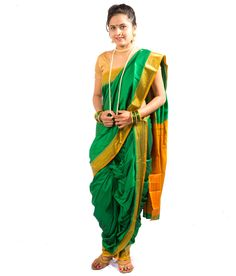 Saj Readymade Traditional Brahmni Nauvari Saree - Green Color, Rs 2000 http://www.snapdeal.com/product/saj-readymade-traditional-brahmni-nauvari/749631646