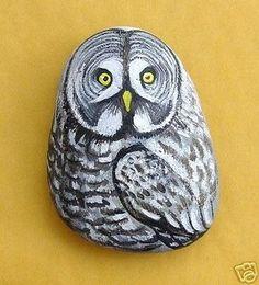 Hand Painted Rock Great Gray Owl Bird Animal Stone Art (12/09/2007)