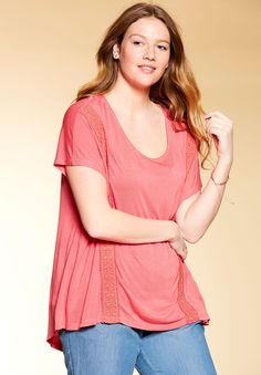 05c41b5a73b3c The gentle high-low hem and pretty front crochet trim makes this maxi tunic  both