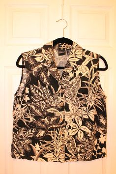 Vintage 80s 90s Tropical Skate Surf Print Sleeveless Button Up S M. $28.00, via Etsy.