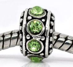 Birthstone Spacer Bead Charm (August Peridot)