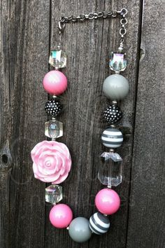 Chunky Pink Gray Necklace Baby Girls Womens by FlounceNecklaces, $27.00
