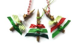 Christmas Tree Decorations set of 3 Pencil tree ornaments with Red White and Green Ribbon and Rustic wooden Star Recycled Gift Idea - pinned by pin4etsy.com