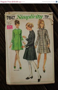30%OffPatterns Simplicity 7847 1960s 60s Mod by EleanorMeriwether