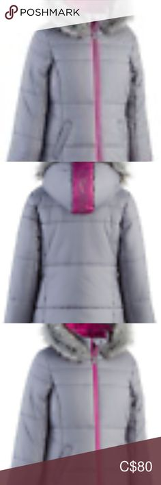 Calvin Klein Girls Logo Sport Hooded Puffer Jacket Product Description Sporty graphics and color-pop details pair with fluffy faux-fur trim on this hooded puffer jacket from Calvin Klein.  Heavy weight; water resistant Fleece lined Pockets at sides Zipper closure at front Faux-fur trim and logo graphic at at hood; stand collar; cuffs; glitter logo patch at sleeve Shell: polyester; lining and fill: polyester; faux fur: modacrylic/acrylic/polyester Machine washable Imported Calvin Klein… Puffer Jackets, Winter Jackets, Plus Fashion, Fashion Tips, Fashion Design, Fashion Trends, Sports Logo, Fur Trim, Color Pop