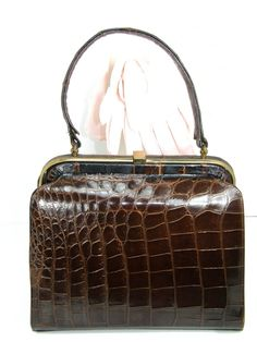 Vintage 1950's Brown Alligator Kelly Bag