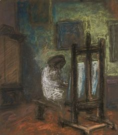 Self Portrait in front of the Easel - Elga Sesemann, Finnish,b. Oil on canvas, Modernism, Easel, Figurative, 1940s, Oil On Canvas, Paintings, Portrait, Artist, People