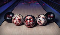 Zombie Head Bowling Balls. I'm not into Zombies, but alot of you are, so I'm pinning this for ya'll