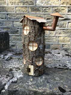 Unique Fairy house handmade from tree stump No.3 by CopperPaws