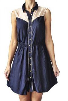 ATMOSPHERE - GRANATOWA SUKIENKA NA GUZIKI - 38  40 Dresses, Fashion, Vestidos, Moda, Fashion Styles, Dress, Fashion Illustrations, Gown, Outfits