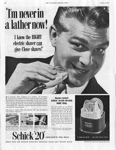 Schick 20 electric razor from The Saturday Evening Post, (This was the ad which inspired the cover of the Mothers of Invention album, Weasels Ripped My Flesh in Best Electric Shaver, Electric Razor, Getting Rid Of Scars, Jazz, Mums The Word, Thing 1, Close Shave, Lp Cover, Cover Art