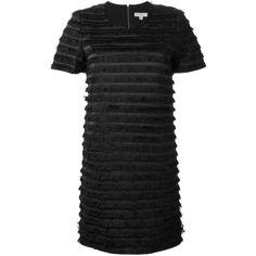 Burberry London Layered Fringe Dress (161815 RSD) ❤ liked on Polyvore featuring dresses, black, kohl dresses, black dress, burberry, fringe dress and burberry dress