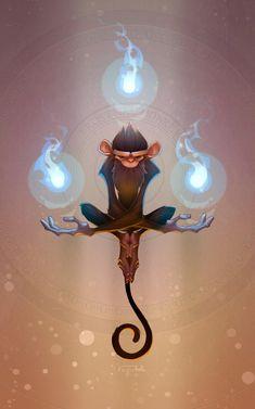 Balance; proporción; repetición de las flamas; énfasis en el personaje alrededor del brillo de las flamas.