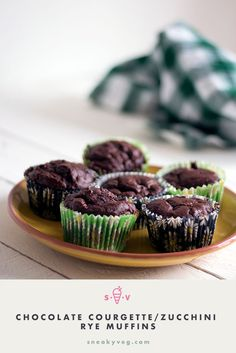 Deliciously moist, these courgette or zucchini chocolate muffins are made with a blend of white and rye flour and are nut free and refined sugar free making them perfect for lunchboxes Hidden Vegetable Recipes, Hidden Vegetables, Vegetarian Meals For Kids, Healthy Eating For Kids, Vegetarian Recipes, Cupcake Recipes, Baby Food Recipes, Kid Recipes, Vegan Recipes Easy
