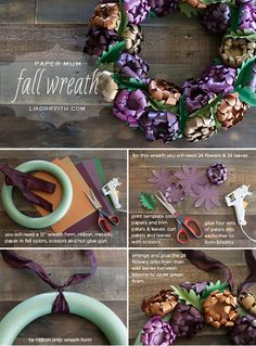 Tutorial + Templates: Use DIY Paper Mums to Make This Gorgeous Fall Wreath  {Lia Griffith}