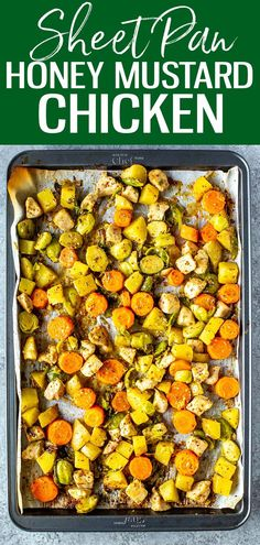 This Baked Honey Mustard Chicken comes together on one sheet pan for minimal clean up - it's a 30-minute dinner with a delicious sauce! #honeymustardchicken #sheetpan 30 Minute Dinners, One Pot Dinners, Breakfast Recipes, Dinner Recipes, Whole Food Recipes, Sweets Recipes, Honey Mustard Chicken, Winter Food, Original Recipe