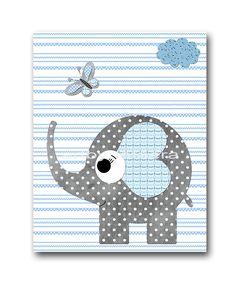Elephant Nursery Baby Boy Nursery Decor Baby by artbynataera, $14.00