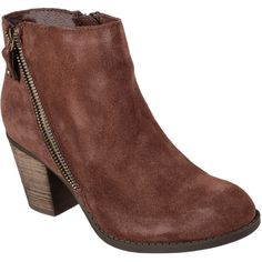 Skechers Women's Flyer Brown - Skechers ($80) ❤ liked on Polyvore featuring shoes, boots, ankle booties, brown, skechers boots, zipper ankle boots, ankle length boots, zipper booties and stacked heel bootie