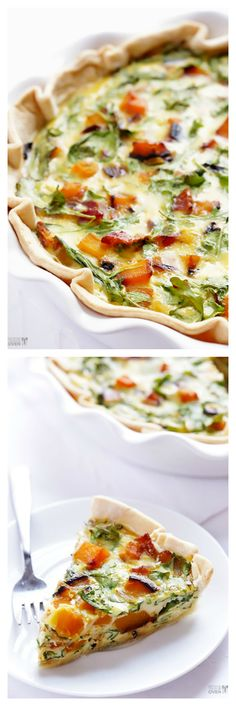 Butternut Squash, Arugula & Bacon Quiche -- easy, seasonal, and so good! | gimmesomeoven.com #breakfast