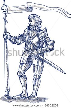 vector illustration of a Knight standing with lance and flag #knight #sketch #illustration
