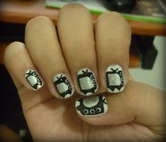 """""""TV"""" - inspired by Zooey Deschanel's chic nails :)"""