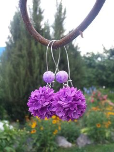 Ball Earrings Floral Earrings Lilac Earrings by Jewelrylimanska