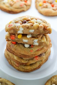 White Chocolate Reeses Pieces Peanut Butter Chip Cookies Recipe via Baker by Nature