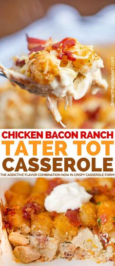 Chicken Bacon Ranch Tater Tot Casserole is a. Chicken Bacon Ranch Tater Tot Casserole is a family favorite made with bacon chicken cheeses and layered with tater tots. Casserole Recipes, Casserole Dishes, Tater Tot Chicken Casserole, Tatertot Casserole Recipe, Cheesy Tater Tots, Tater Tot Recipes, Food Dishes, Main Dishes, Food Food