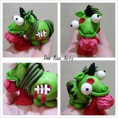 Dee Raa Arts polymer clay unicorn zombie green brain