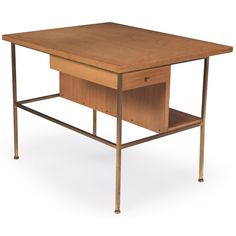 Paul McCobb; Mahogany and Brass 'Irwin Collection' End Table for Directional, 1950s.