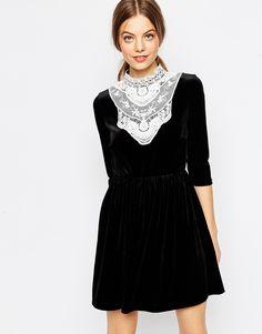Image 1 ofASOS Velvet Skater Dress With Lace Bib