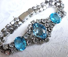 Early-Very-Rare-Kramer-Sterling-Bracelet-Lrg-Aqua-Faceted-Stones-Gorgeous