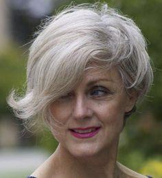Short Gray Hairstyle For Women Over 50. Asymmetrical bob like Meryl Streep, The devil wears Prada