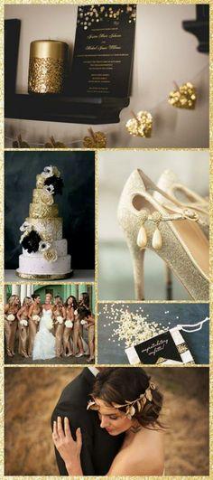 Black & Gold Glitter Wedding Inspiration #black #gold #glitter #wedding #inspiration