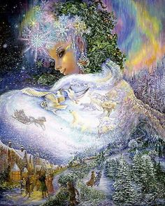 "Winter Solstice: ""Snow Queen,"" by Josephine Wall. Josephine Wall, Snow Queen, Fantasy World, Fantasy Art, Art Expo, Earth Design, Fantasy Paintings, Wall Paintings, Winter Solstice"
