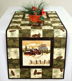 Christmas decorations include outdoor decorations, indoor decorations, Christmas table decorations and other such similar decorations to create the feel of … Quilted Table Runners Christmas, Christmas Runner, Table Runner And Placemats, Table Runner Pattern, Christmas Quilting, Place Mats Quilted, Winter Table, Quilted Table Toppers, Panel Quilts