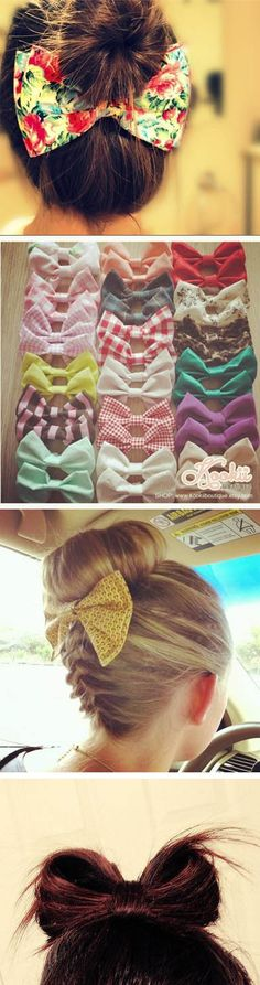 bows! :) fashion, how to get longer hair, bow bow, accessori, how to wear hair bows, beauti, ideas for bows to make, hair style, bow braid how to