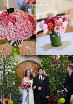 I like the idea of having a patterned ribbon in different places throughout a wedding