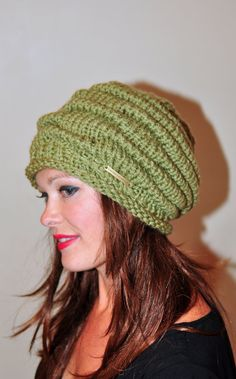 Women Hat Slouchy Hat Slouch Beanie Striped Hat Hand by lucymir, $64.99