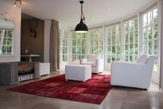 Rood handgemaakt patchwork tapijt #vintagecarpet