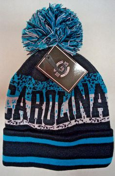 Carolina Panthers Team Color City Name Pom Pom Knit Beanie Hat with Cuff  (Digi) d1bf139c5